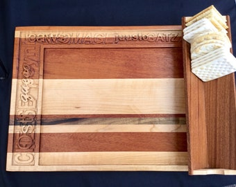 Exotic hardwood cheese and appetizer tray
