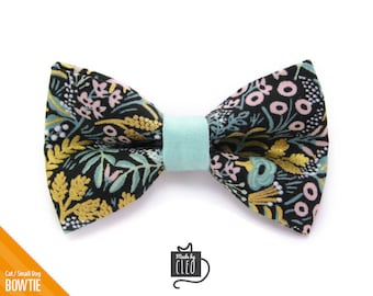 """Floral Cat Bow Tie - """"Laurel"""" - Rifle Paper Co® Black Cat Collar Bow Tie / Kitten Bow Tie / Spring Bowtie - Removable (One Size)"""