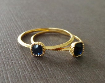 Petite Square Dark Blue Sapphire 22k Vermeil Stacking Ring