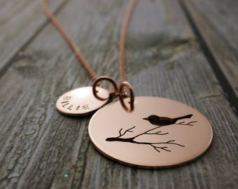 Rose Gold Filled Mother Bird Necklace - Personalized Bird on Branch Necklace - Hand Drawn and Cut by EWDjewelry