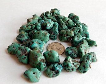 Vintage Lot of Loose Polished Turquoise Nugget Beads - 40 Large Pieces, 139 grams - Largest at 24 x 16 mm - Probably American Stones