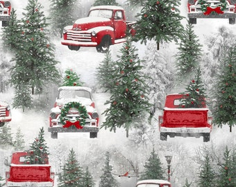Christmas Forest Fabric with Retro Red Trucks, Henry Glass Holiday Wishes 6928 86, Christmas Quilt Fabric, Holiday Trees, Cotton