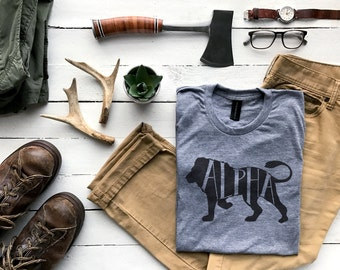 Alpha Male T-shirt • Unique Gift for Fathers •Hand-lettered Typographic Lion Design for Dads • Father's Day Gift Shirt • FREE SHIPPING
