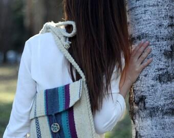 Blue Hand-woven Bag - Winter Crossbody Bag - Handmade purse - Shepherd's Bag - Purple Bag - Blue Bag - Folk Bag - Hippie Bag - Gift For Her