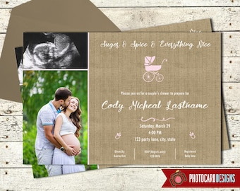 Baby Shower Invitation, Baby Shower Photo Invitation, Burlap, Baby Shower, Multi Picture, Card, Digital, Personalize, Couples Shower