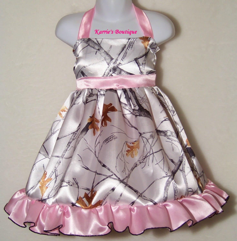 CAMO Flower Girl Dress Snow Camo Pink Halter Satin
