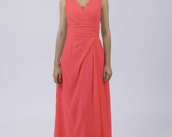 Coral Classic Long Dress with Straps for Wedding/ Prom/ Party/ Formal Evening Wear by Matchimony
