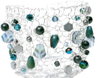 Crystal Bracelet Beaded Bracelets Hand Knit Jewelry Silver Cuff Bracelet Statement Bracelet Teal Blue Green Beadwork Arm Cuff Wide Bracelet