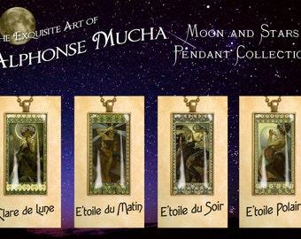 "Alphonse Mucha, ""Moon and Stars"" Pendant Collection - Art Noveau Photo Pendants"