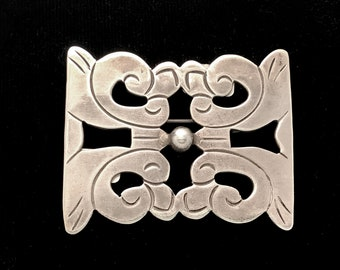 Taxco silver pin brooch, 1930s Mexican sterling silver, stamped on back
