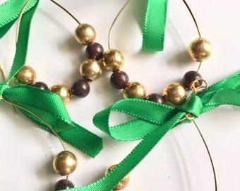 Red Jasper Vintage Metal Beads Wire Hoop and Ribbon Ornaments