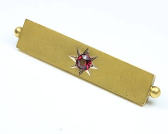 Vintage 9ct Yellow Gold Edwardian Style Ruby Bar Brooch