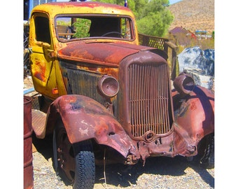 Old Truck Photograph, Rusty Old Truck, Wall Art, Manly Decor, Rustic Decor, Boys Room, Country Decor, Old Car,Vintage Truck,Yellow,Rusty Red