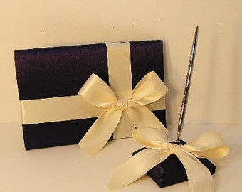 Wedding Guest Book Purple and Ivory and pen holder set -made to order ,Custom Made