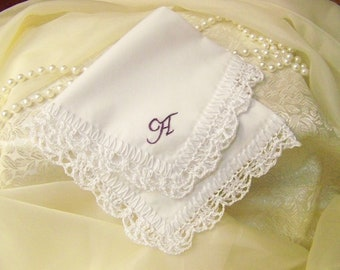 Monogrammed Handkerchief, Hanky, Ladies, Lace, Lacy, Hand Crochet, Hand Embroidered, White, Ready to ship, Custom Orders Welcome, Bridal