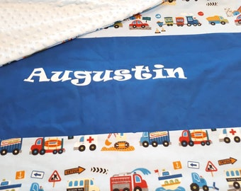 Child blanket 75 x 100 cm with printed cotton name cars, trucks and minky Oeko Tex certified to order.