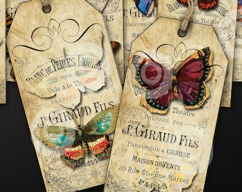 10 Vintage Butterlies full colour TAGS printable digital download