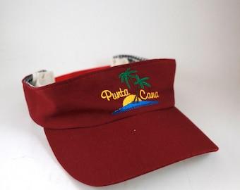 Vintage Punta Cana Visor // Red Embroidered Sunset Adjustable Snapback Visor // Dominican Republic