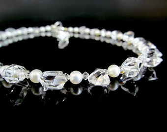 Dance Like No One's Watching III / Stunning Choker Necklace with Grade AAA Herkimer Diamonds and Grade AAAA Lustrous Freshwater Pearls