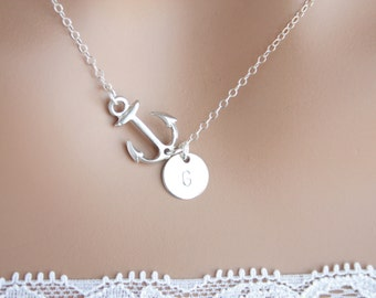 Personal Sideways Anchor Necklace with initial Disk- Silver or Gold, Cute simple look, engraved disk, Mother's day, Birthday gift for her
