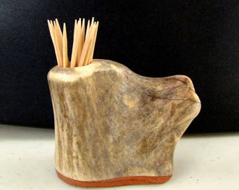 Nice Elk Antler Toothpick Holder, Match Stick Holder,Mahogany Wood Base, TP-27