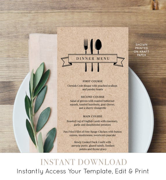 Printable Menu Card, INSTANT DOWNLOAD, Wedding Dinner Menu Template, DiY Menu Card, Rustic Kraft Wedding, Editable Template, Digital #107WM
