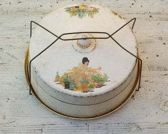 Tin Cake Carrier, As Featured in Flea Market Decor Magazine,  Vintage Cake Tin with Handle Garden Girl, Nesco Milwaukee