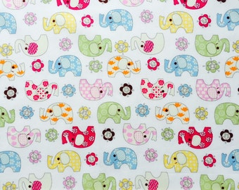 Elephant Print Fabric on White background. Dressmaking and Quilt Fabric , 100% Cotton -Half Metre
