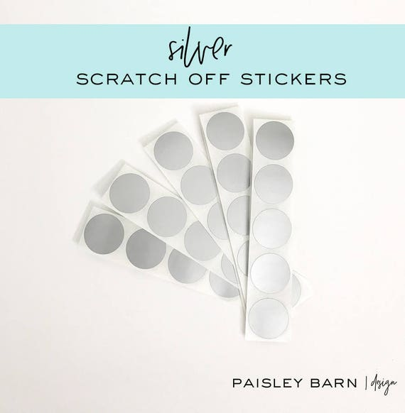 """Silver 1"""" Round Scratch Off STICKERS  
