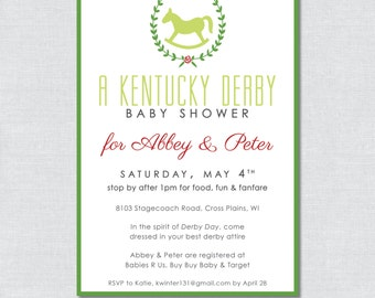 Kentucky Derby Baby Shower Invitation - Digital File