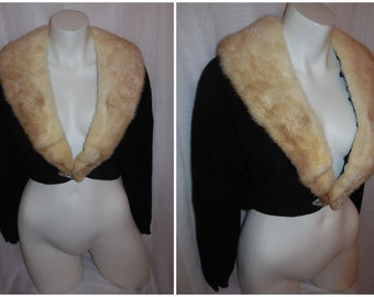 Vintage 1950s Sweater Black Cashmere Blonde Mink Fur Collar Pringle of Scotland Rhinestones Pearls Rockabilly Pinup L chest to 42 in
