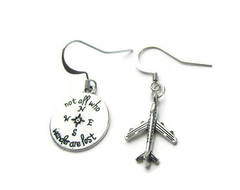 Airplane Earrings, Not All Who Wander Are Lost Earrings, Travel Earrings, Traveler Earrings, Assymetrical Earrings, Travel Jewelry
