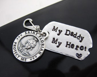 U S Army, Navy, Law Enforcement, Marine corps, Air Force, Firefighter, Dog tag Key charm, Daddy,