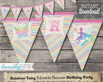 Rainbow Fairy Party Banner - INSTANT DOWNLOAD - Editable & Printable Birthday Decoration, Decor, Bunting by Sassaby Parties