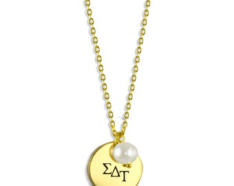 Sigma Delta Tau Pearl Sorority Necklace / SDT Necklace / Sorority Necklace / Sorority Gift / Big Little Gift / Sorority Jewelry