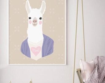Drama Llama (A) - Animoji Series - Art Print (Colors are Customizable) Animal Heads / Kids Room Art Prints