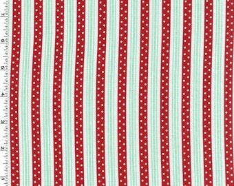 REMNANT PIECE - Michael Miller - Retro Florals - Norma - Red/Aqua/White Stripe