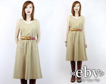 Vintage 70s Khaki Sleeveless Day Dress S M Secretary Dress Work Dress Khaki Dress Beige Dress Knee Length Dress