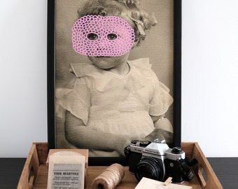 Vintage Style Collage Art Print Of A Baby Girl Retro Portrait Photography, Fine Art Giclee Print On Thick Hahnemuuhle Paper, Pink Art Print