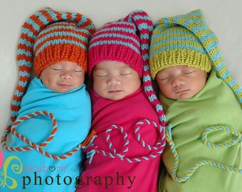 Newborn Knit Baby Hat BaBY PHoTO ProP Unisex Boy Girl Hat STRiPE Stocking Cap PiCK CoLOR Pixie Elf Hat Orange Pink Lime Aqua MuNCHKiN Beanie