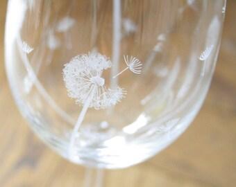 Pair of Hand Engraved Crystal Dandelion Crystal Wine Glasses, Bohemia Crystal