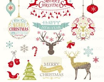 "Christmas clip art: ""Christmas Clipart"" with vector Christmas Clipart, Christmas frames, Reindeer, 18 images, 300 dpi. PNG, EPS files"