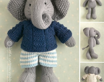 Toy knitting pattern for a boy elephant in a textured sweater