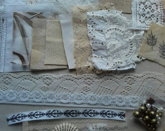 linen and lace textile embellishment kits. craft packs. sewing. collage