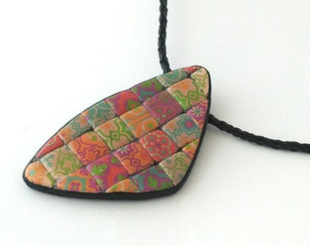 Necklace in polymer clay, colorful tiles polymer clay pendant, handmade polymer clay jewelry, unique design clay necklace, tiles necklace.
