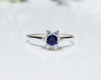 Silver Sapphire Ring, Sapphire Halo Ring, Blue Sapphire Ring, Pink Sapphire Ring, Promise Ring, Lab Sapphire Ring, September Birthstone Ring