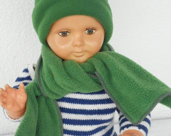 beret hat and scarf linen baby bonnet'eva green fleece birth gift
