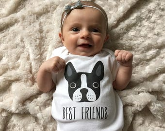 Best Friends Boston Terrier Baby Clothes Bodysuit Romper One Piece for Baby Boy or Baby Girl, Long Short Sleeve, 3 Months - 18 Months