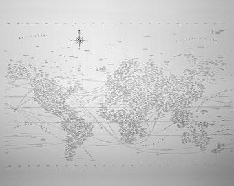 Letterpressed Typographic World Map