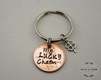 My Lucky Charm Penny Keychain, Lucky Penny Keychain, Custom Keychain, Penny Keychain with Clover Charm, Personalized Gift, Anniversary Gift